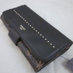 Guess Hailey Logo Clutch Wallet Black Brown NWT
